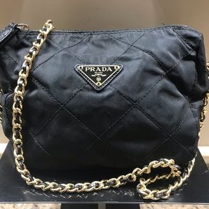 caf78aadd032 💯%Auth Prada Quilted Nylon Black Gold Chain Bag